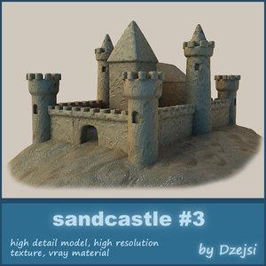 sandcastle sand castle 3d 3ds