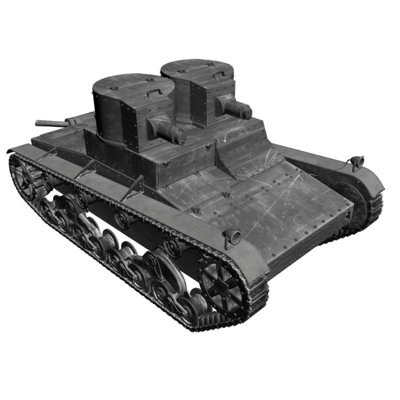 bolivian vicker 1939 tanks 3d model