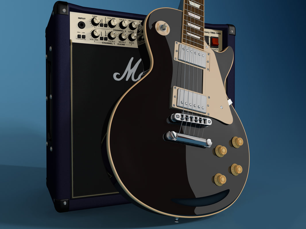 3d model of gibson les amplifier guitar