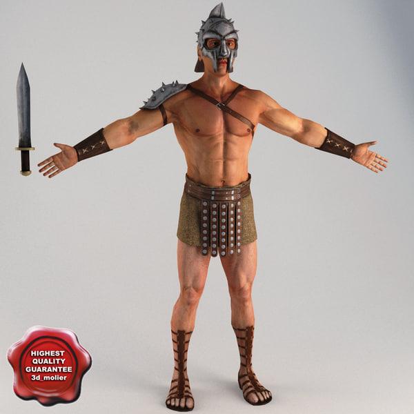 3d model gladiator t-pose