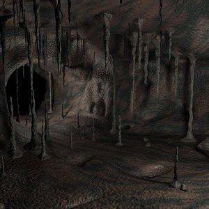3d max cave rocks roots