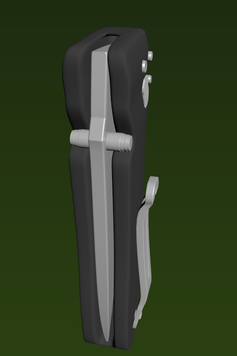 cool flick knife 3d obj