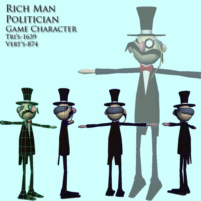 rich politician man character 3d model