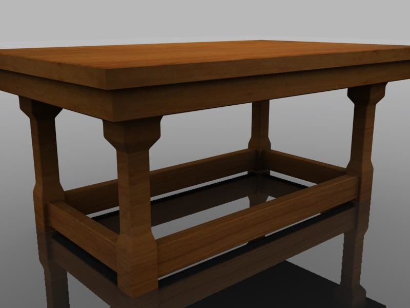 3d ma small wooden table wood