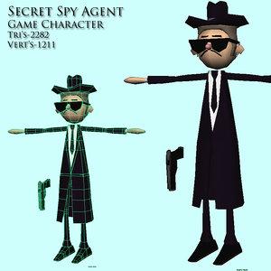 secret agent spy 3d obj