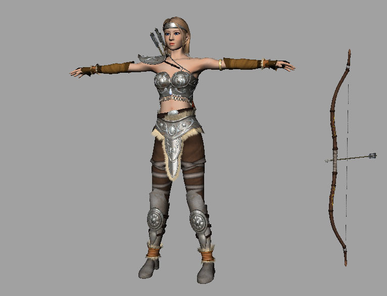 warrior girl bow arrow 3d model