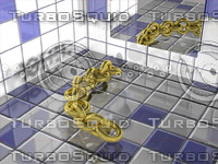 3d 3dm gold chain bathroom