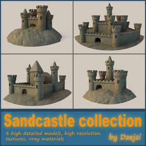 3d set sandcastles