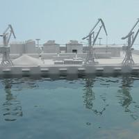 shipping port 3d model