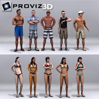 3ds max people: beach people