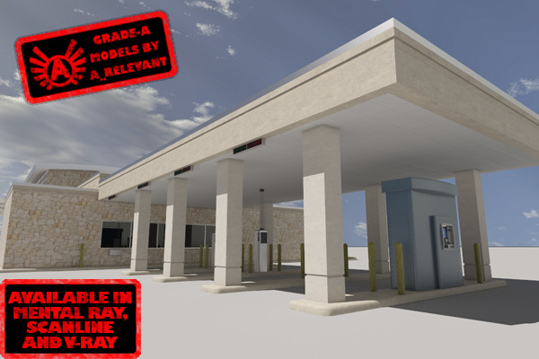 3d model of drive-thru bank 2010 3