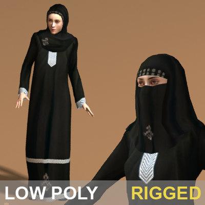 3d arab woman character rigged
