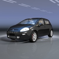 fiat punto evo black 3d model