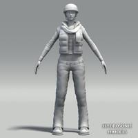 female biker 3d model