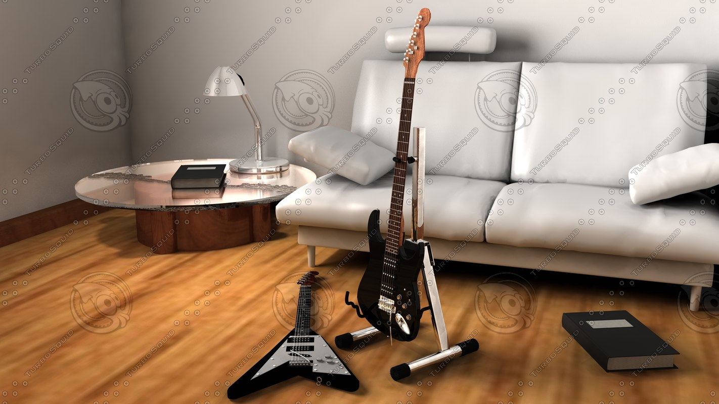 3d electric guitar stand