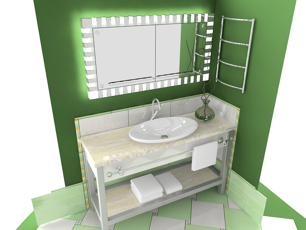bathroom furniture table mirror 3d model