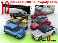 10 lowpoly EUROPE car collection