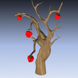 3d model old apple tree