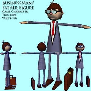 3d business man dad model