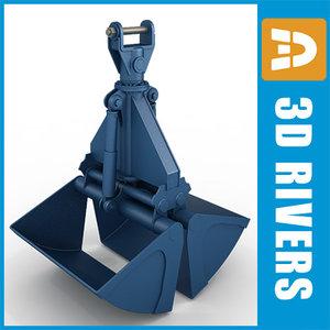 hydraulic clamshell grab 3d model