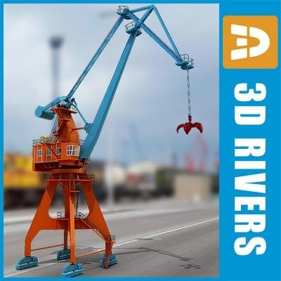 level luffing crane seaport 3d model