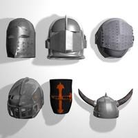 set 11 medieval helmets 3d model