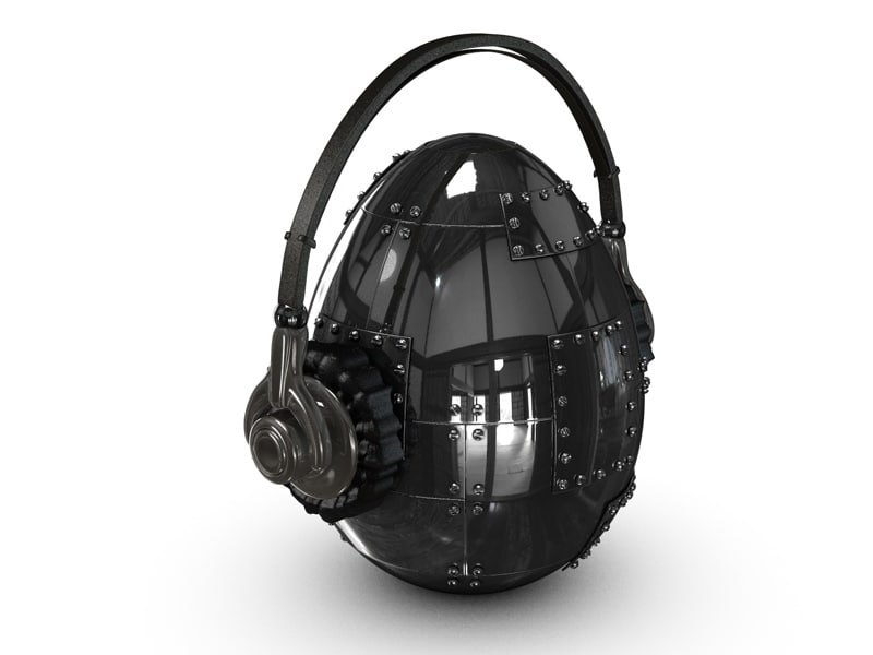 3d model metal egg headphones