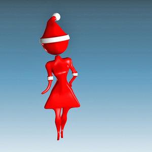 3ds max santa claus girl female woman