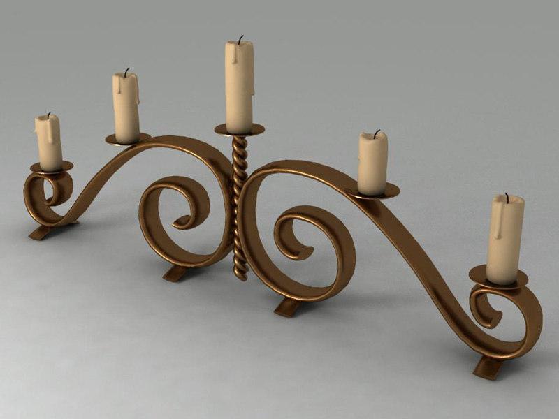 3d model stick candels candelstick