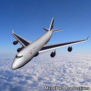 polys 747-400 flight 747 aircraft 3d model