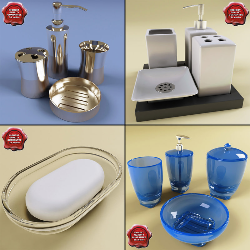 3d model bathroom accessories v1