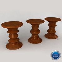 walnut stool eames 3d model