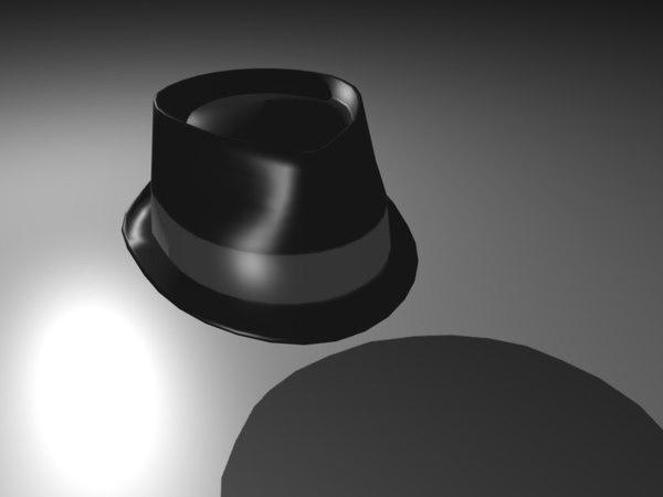 3d black fedora model