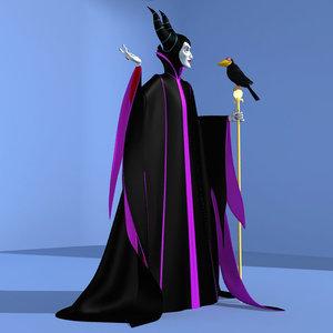 3dsmax maleficent witch raven