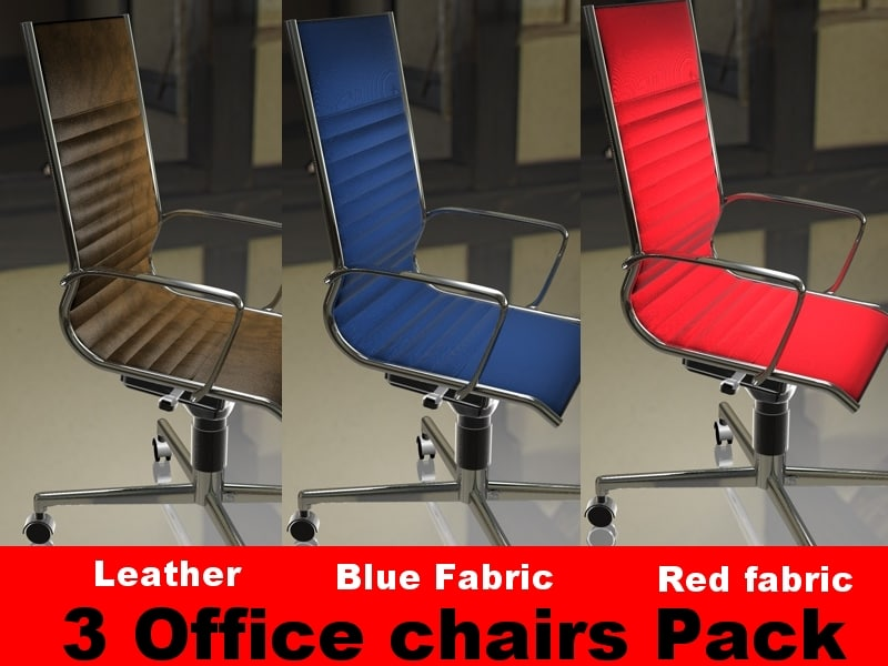 3ds max pack 3 office chairs