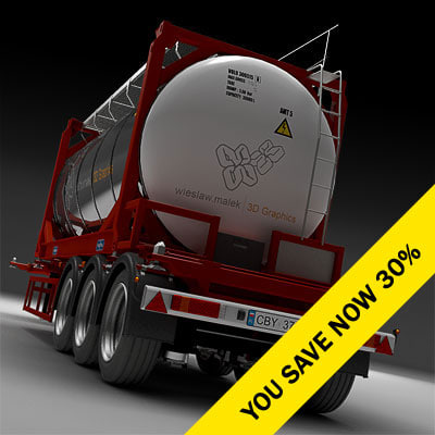 3d model trailer container semi-trailer