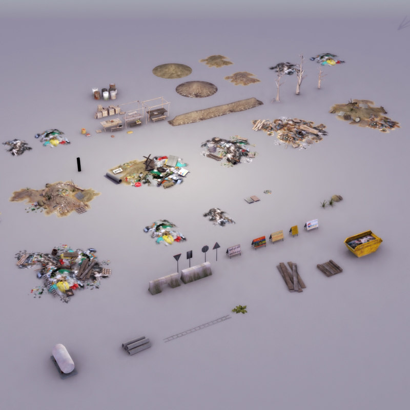 rubbish trash pile 3d model