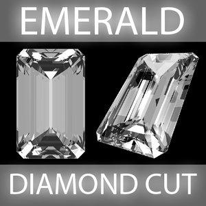 emerald diamond cut 3d model