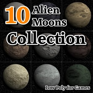 10 alien moons 3d model