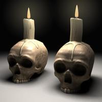 candle skull 3d model
