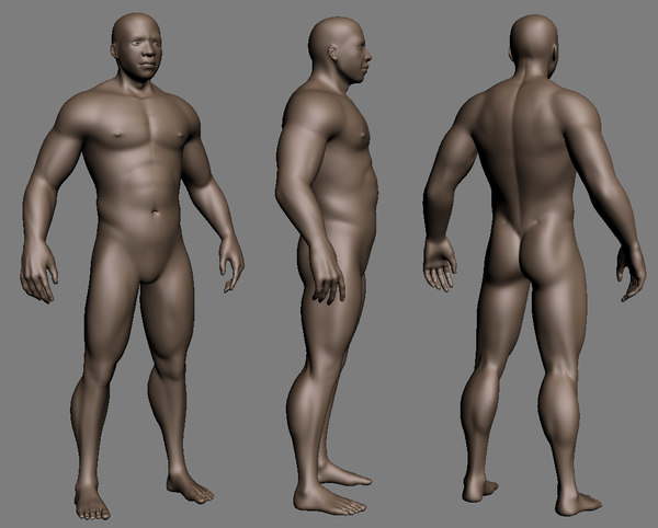 muscled african male 3d model