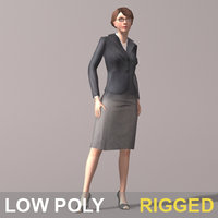 business woman rigged 3d model