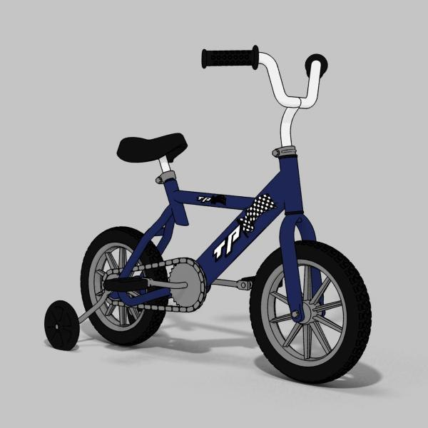 child bicycle toon 3d max