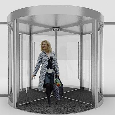 3d model revolving door
