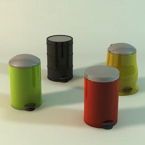 3d trash cans