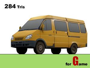 gaz gazel bus 3d 3ds