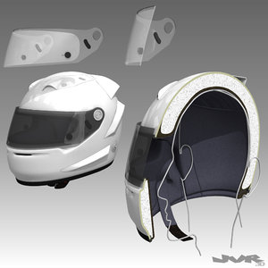 3ds racing car helmet cutaway