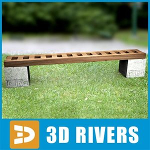 3d modern chinese bench model