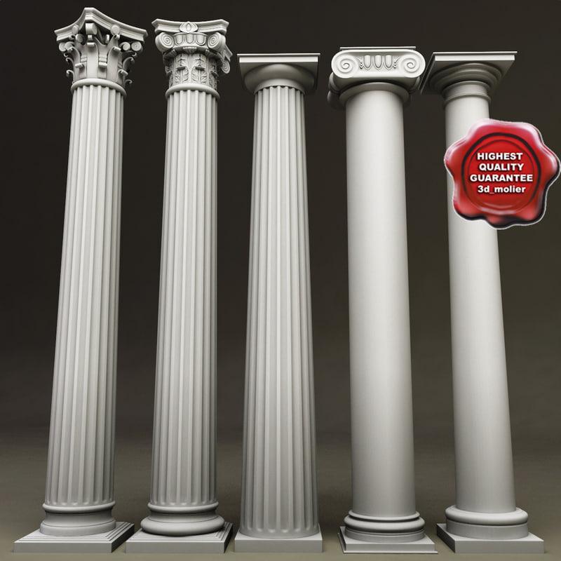 columns set composite 3d model