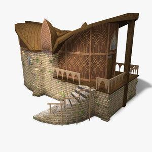 low-poly elven building games 3d obj
